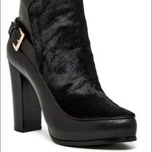 Nicole Miller Flora Bootie. Black Leather.